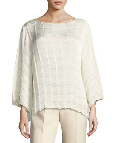 THE ROW Bela Pleated Crepe Boat-Neck Top, Ivory