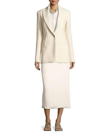 Odille Silk Long-Sleeve Shirt, Light Beige