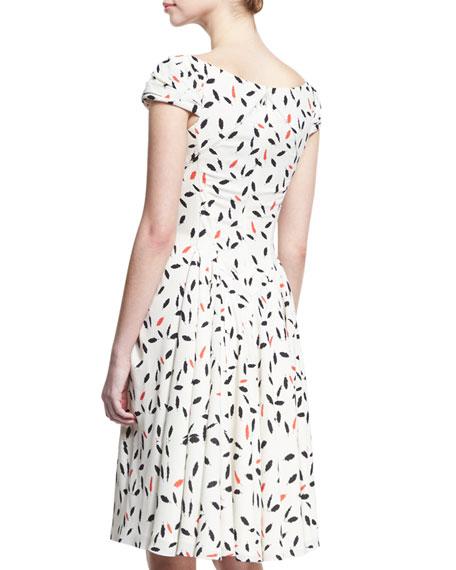 Feather-Print Cap-Sleeve Dress, Ivory/Coral/Black