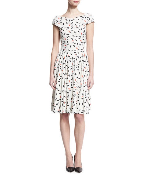 Feather-Print Cap-Sleeve Dress, Ivory/Coral/Black