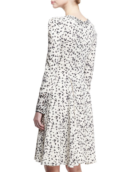 Long-Sleeve Butterfly V-Neck Dress, Ivory/Black