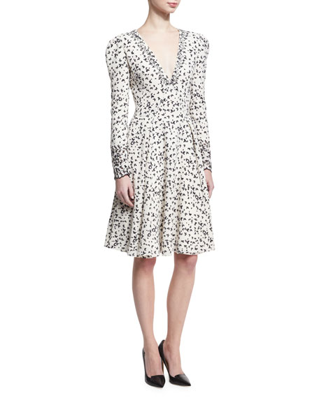 Zac Posen Long-Sleeve Butterfly V-Neck Dress, Ivory/Black