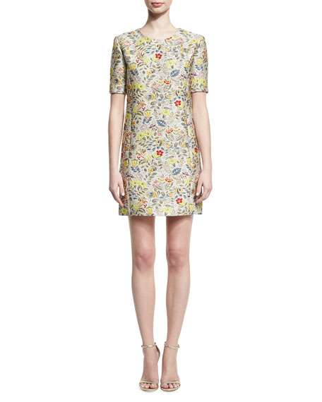 Zac Posen Floral Jacquard Short-Sleeve Cocktail Shift Dress,
