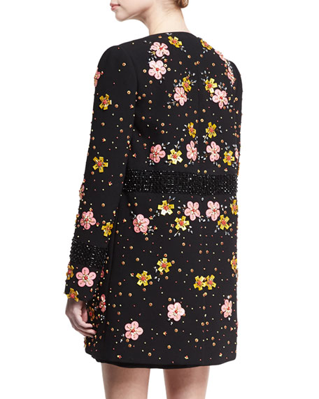 Floral-Embroidered Car Coat, Black