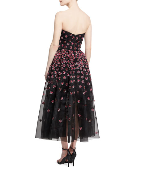 Daisy-Embroidered Strapless Tea-Length Gown, Pink/Gray