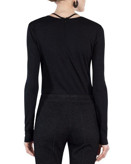 Long-Sleeve Jersey Top w/Mesh Halter