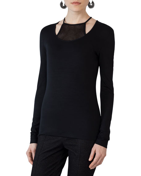 Akris punto Long-Sleeve Jersey Top w/Mesh Halter