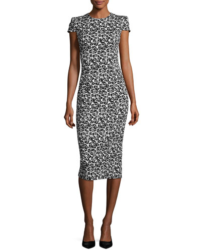 Cap-Sleeve Floral Jacquard Sheath Dress, Black/White