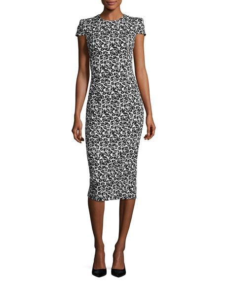 Cap-Sleeve Floral Jacquard Sheath Dress, Black/White