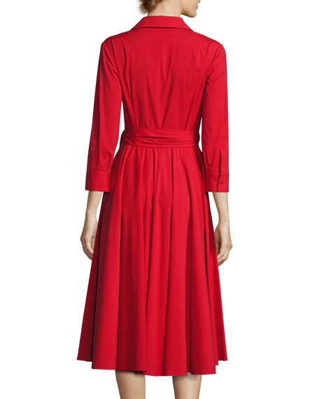 Wrap-Front 3/4-Sleeve Shirtdress, Crimson