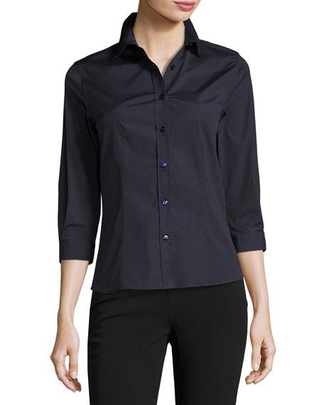 Carolina Herrera Classic 3/4-Sleeve Poplin Shirt