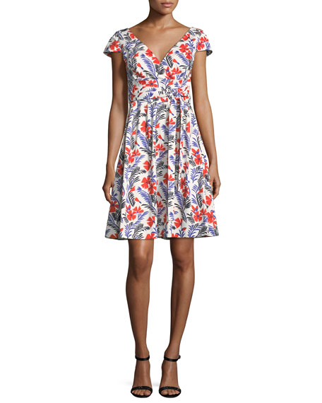 Carolina Herrera Poppy Cap-Sleeve Belted A-Line Dress, White