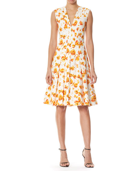 Butterfly-Print Pleated V-Neck Dress, White/Orange