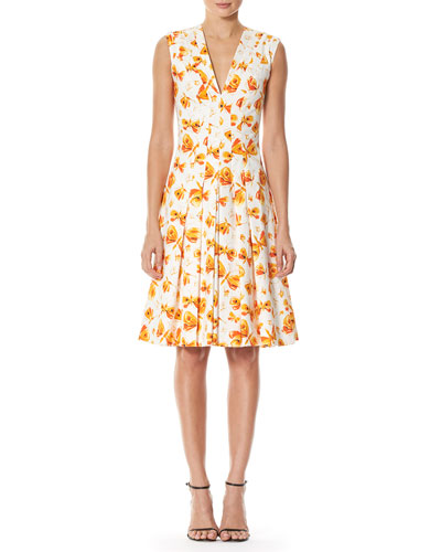 Butterfly-Print Pleated V-Neck Dress, White/Orange