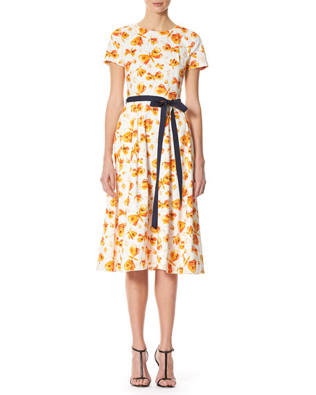 Carolina Herrera Butterfly-Print Midi Dress with Belt, Multicolor