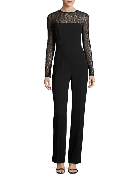 Michael Kors Collection Long-Sleeve Lace-Inset Jumpsuit, Black
