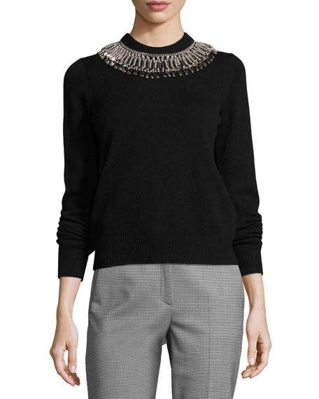 Michael Kors Collection Ribbed Cashmere Sweater with Safety