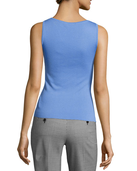 Cashmere Scoop-Neck Shell Tank, Blue