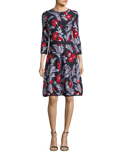 Floral Knit Elbow-Sleeve Dress, Multi Pattern