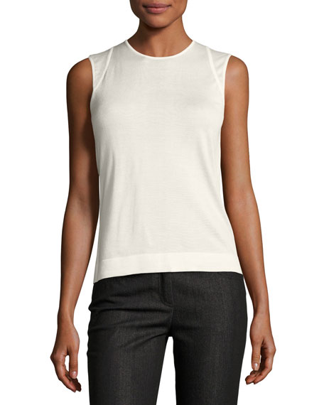 Akris Jewel-Neck Cashmere-Silk Tank