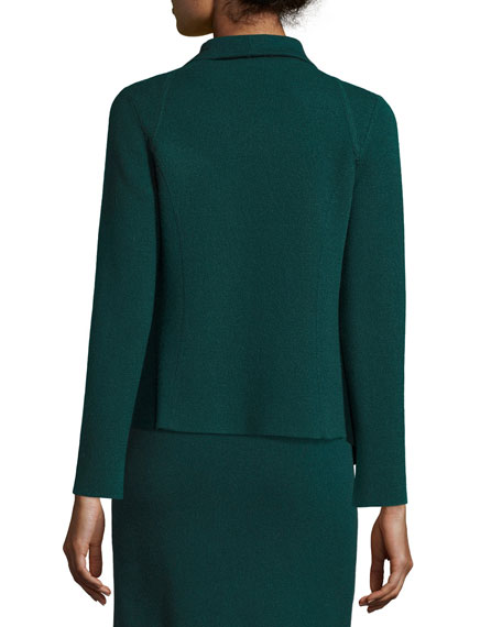 Reversible Cashmere Open-Front Cardigan, Forest