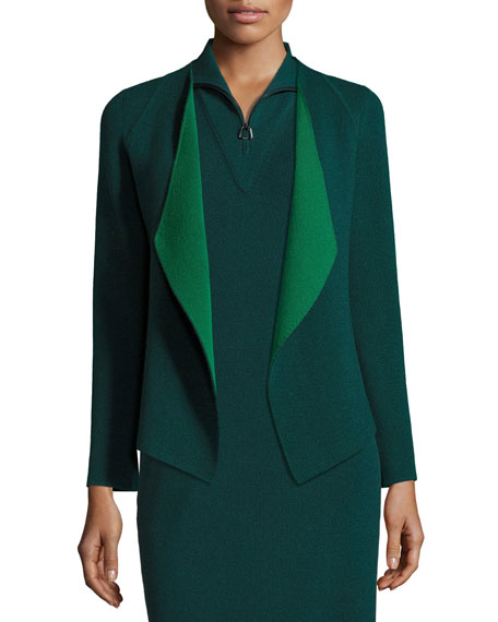 Akris Sleeveless Knit Quarter-Zip Dress, Forest and Matching