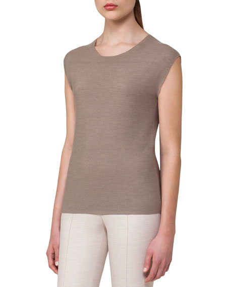 Akris Cap-Sleeve Scoop-Neck Top