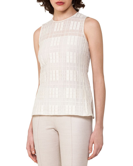 Sleeveless Grid Lace Top, Off White