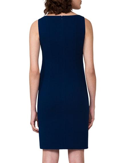 Sleeveless Wool Crepe Sheath Dress