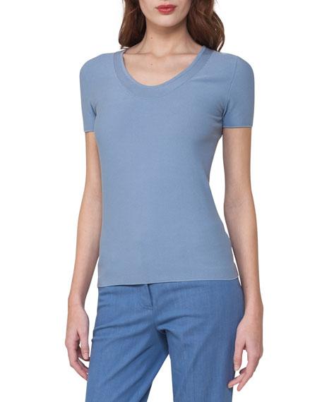 Short-Sleeve Piqué Scoop-Neck Sweater