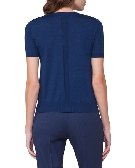 Short-Sleeve Cashmere-Silk Pullover