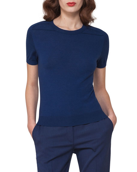 Akris Short-Sleeve Cashmere-Silk Pullover