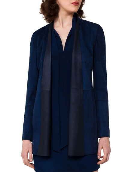 Akris Leather Shawl-Collar Jacket, Blue