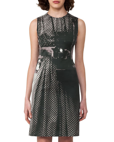 Vivian Camera-Print A-Line Dress, Black