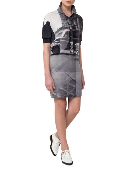 Akris Three Women Short-Sleeve Silk Polo Dress, Black
