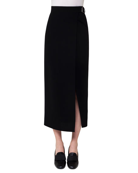 Akris Belted Wrap Midi Skirt, Black