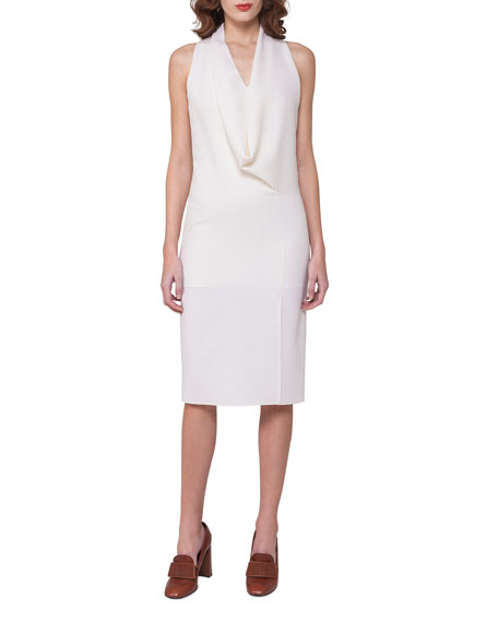 Akris Sleeveless Drape-Front Dress, Off White