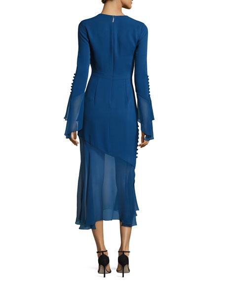Bell-Sleeve Silk Midi Dress with Asymmetric Skirt, Blue