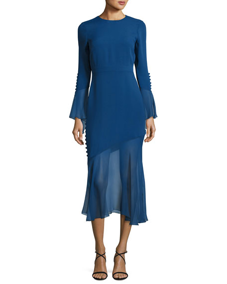 Prabal Gurung Bell-Sleeve Silk Midi Dress with Asymmetric