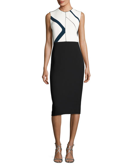 Graphic-Print Sleeveless Sheath Dress, White Pattern
