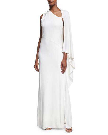 One-Sleeve Cape Gown, White