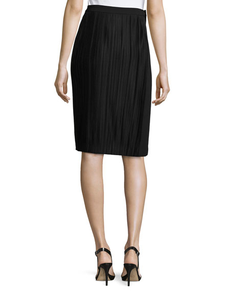 Plissé Paneled Side-Slit Skirt, Black