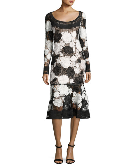 Naeem Khan Two-Tone Floral Guipure Lace Flounce Dress,