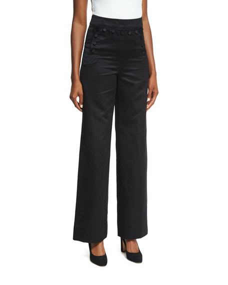 Sateen High-Waist Wide-Leg Sailor Pants