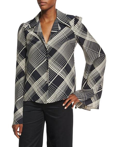 Plaid Hammered Silk Bell-Sleeve Blouse, Black/Ivory