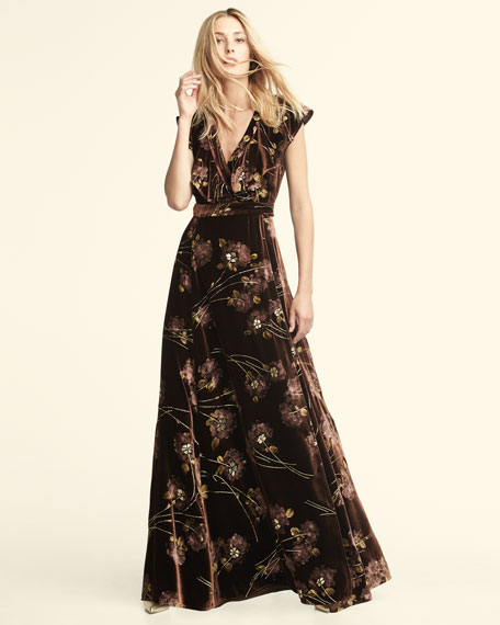 Floral Velvet Maxi Wrap Dress, Burnt Sienna