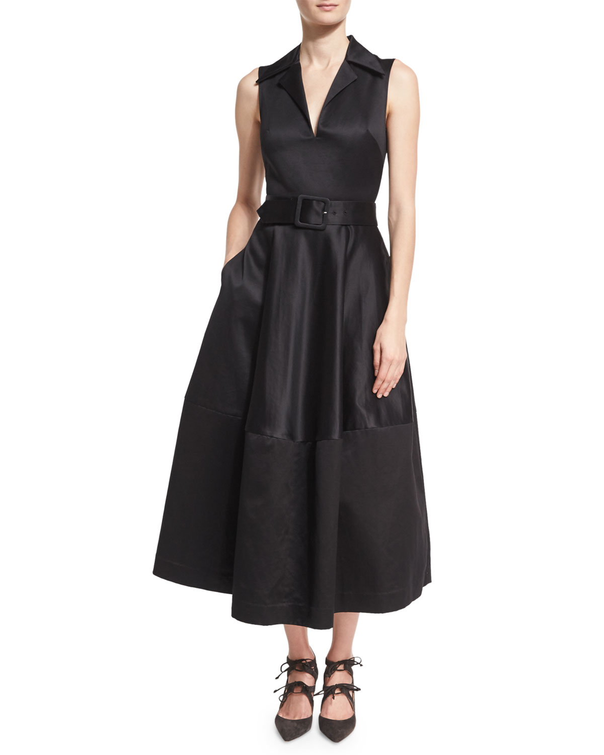 Belted Cotton-sateen Midi Dress - Black Co q0Oh4Q