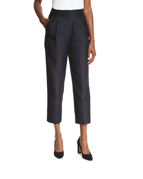 Co Classic Single-Pleat Cropped Trousers, Black and Matching
