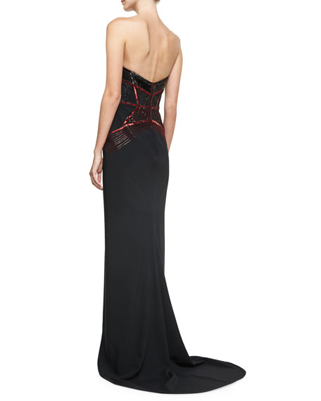 Crystal & Sequined Strapless Evening Gown, Black/Red