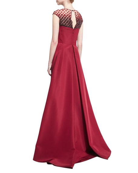 Beaded-Yoke Cap-Sleeve Evening Gown, Red
